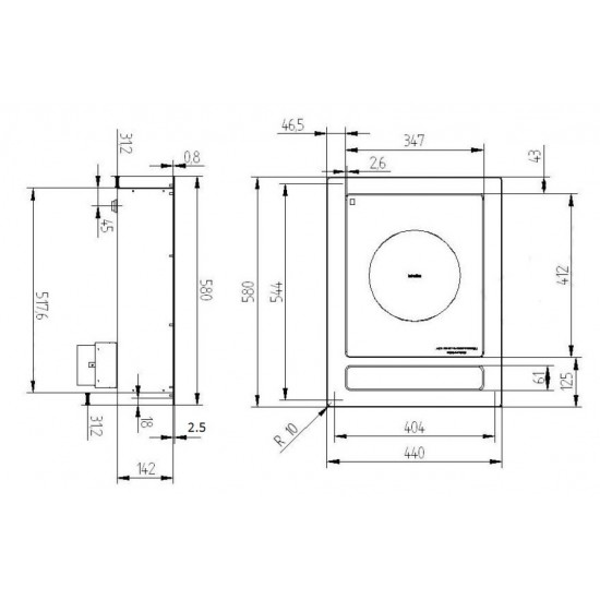 Индукционен котлон за вграждане една зона ф280, 6kW