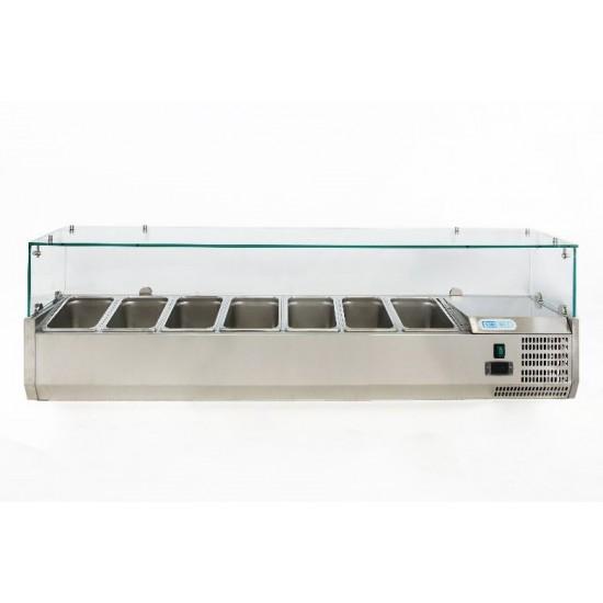 Хладилна витрина за 7xGN 1/4-150, 1500х330х435h