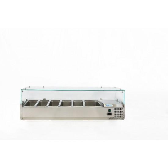 Хладилна витрина  5х1/3GN + 1х1/2GN, 1500x380x435h