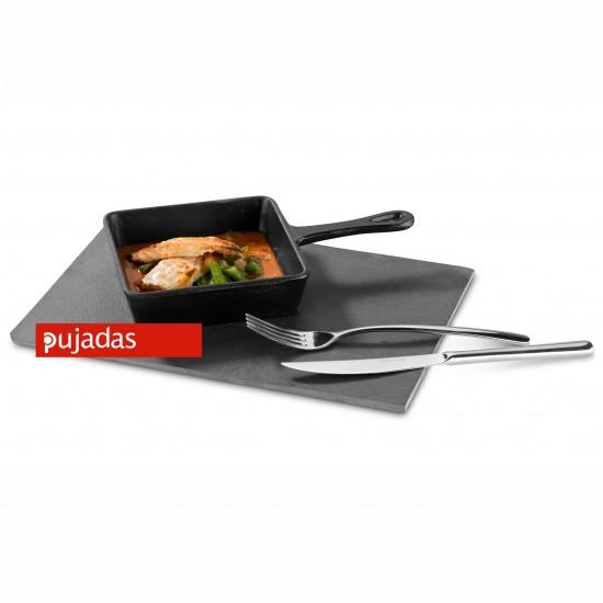 Чугунен мини квадратен тиган 136x136 мм за презентационно готвене и сервиране