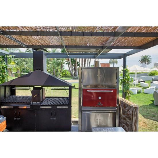 Барбекю-фурна на дървени въглища с горен отоплителен и долен неутрален шкафове HMB AC 110