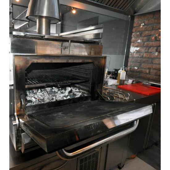 Барбекю-фурна на дървени въглища, настолна с отопляема горна решетка HMB SB 110