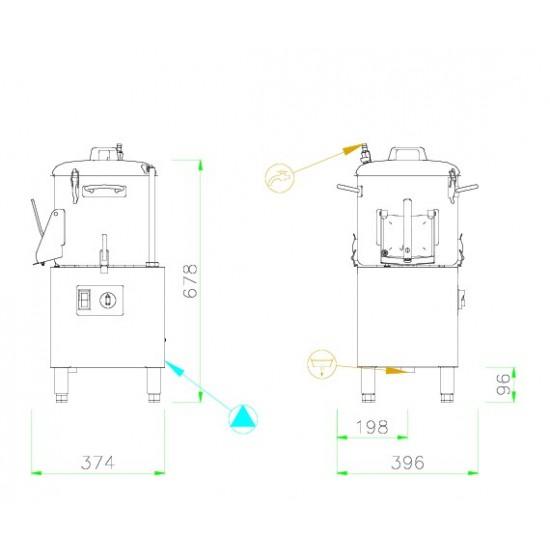 Картофобелачка със стойка 6кг./10л, модел PР6-TF