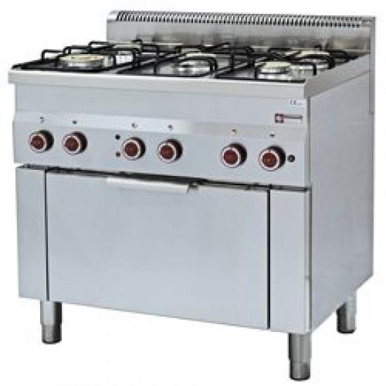 Печка с 5 газови котлона и ел. фурна, професионална