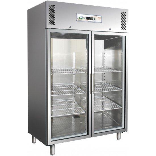 Хладилник неръждаем 2 стъклена врати 2/1GN Forcar