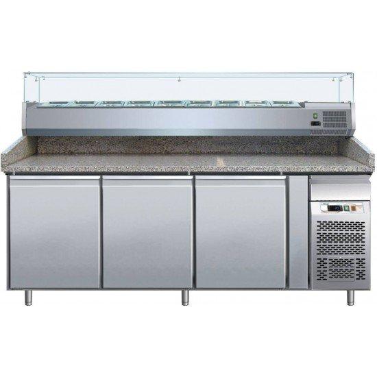 Хладилна маса за пици  с гранитен плот, 3 врати