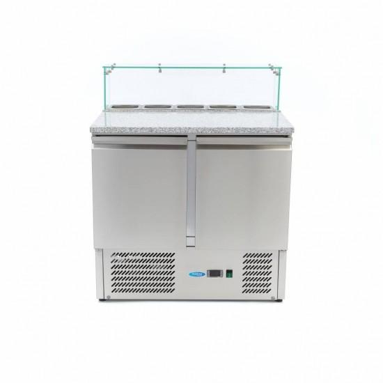 Хладилна маса за пици 2 врати (0°С, +10°С) и стъклена надстройка