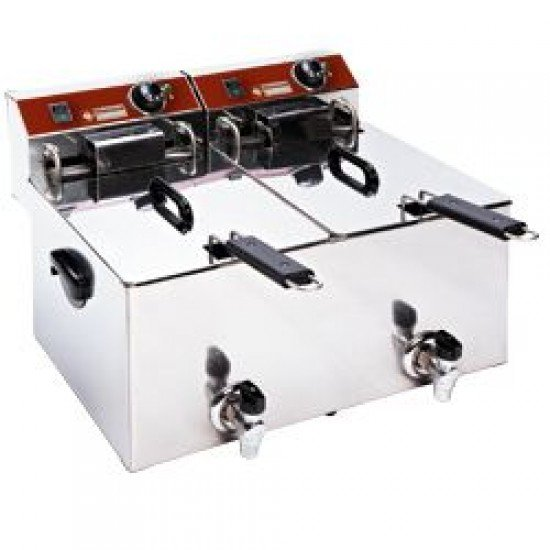Електрически фритюрник 2 х 10л. с кран, настолен EF102-TN